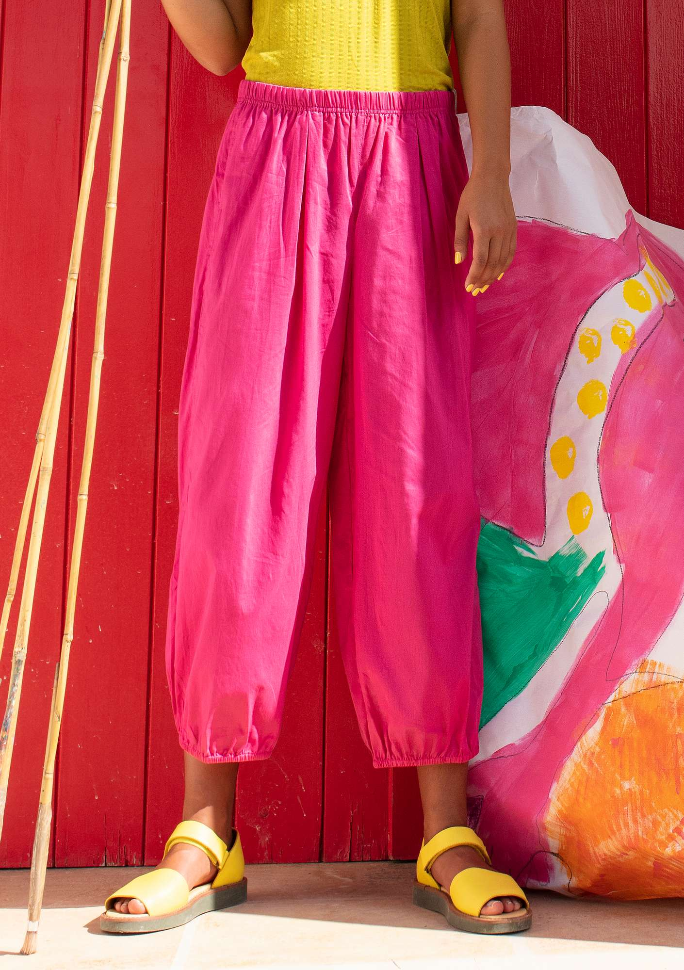 """Pepo"" organic cotton trousers hibiscus"