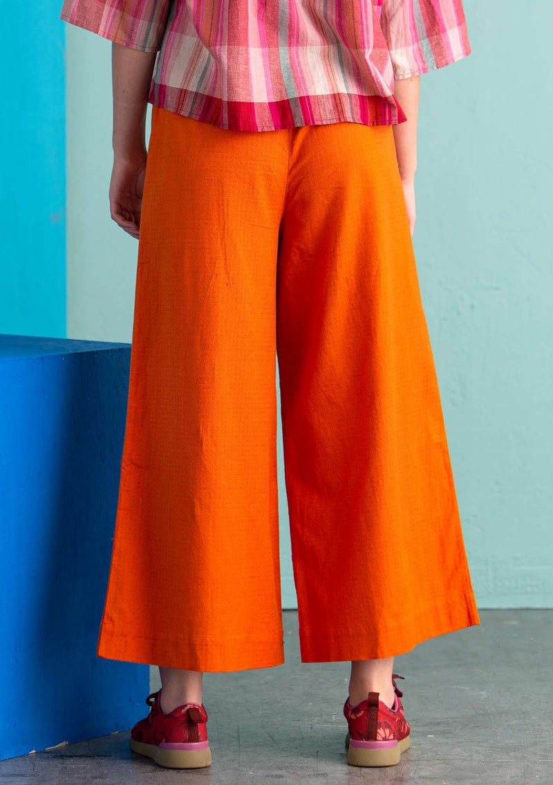 Organic cotton/linen/elastane trousers burnt orange