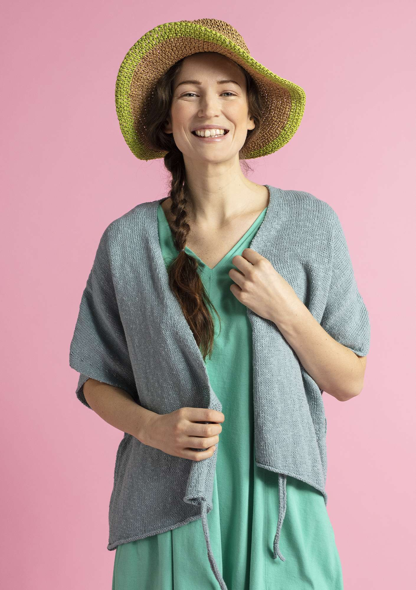 Wrap cardigan in eco-cotton/eco-linen celadon