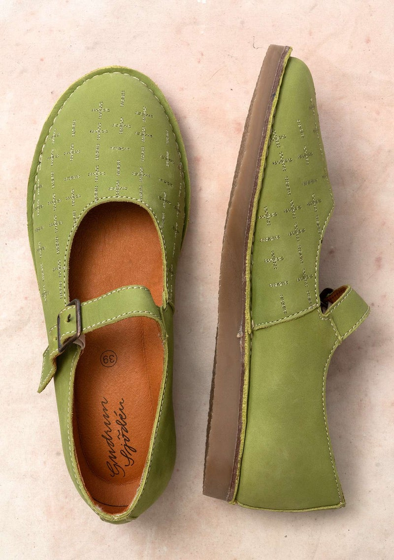 """Earth"" nubuck strap shoes asparagus"