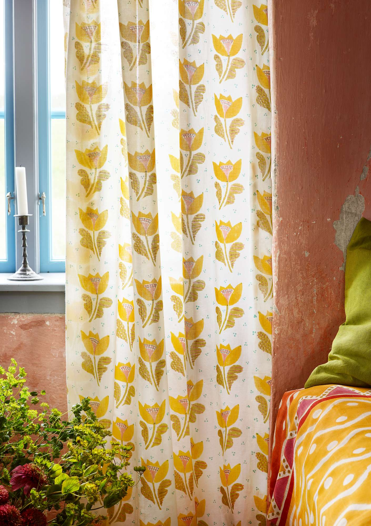 Herb block-printed curtain pineapple