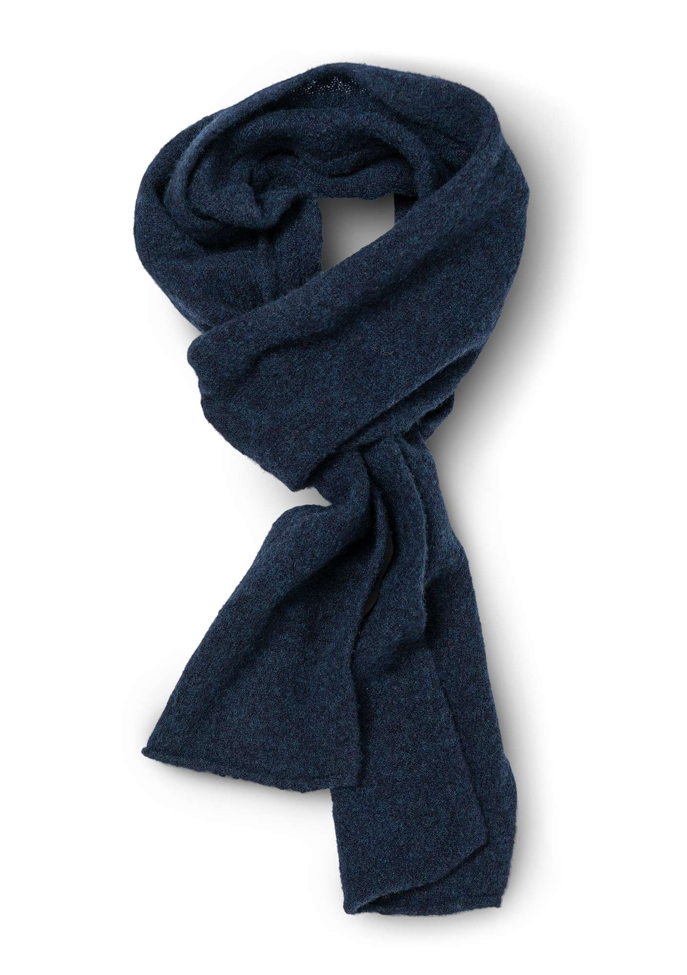 Solid-color scarf in a recycled cashmere blend dark indigo