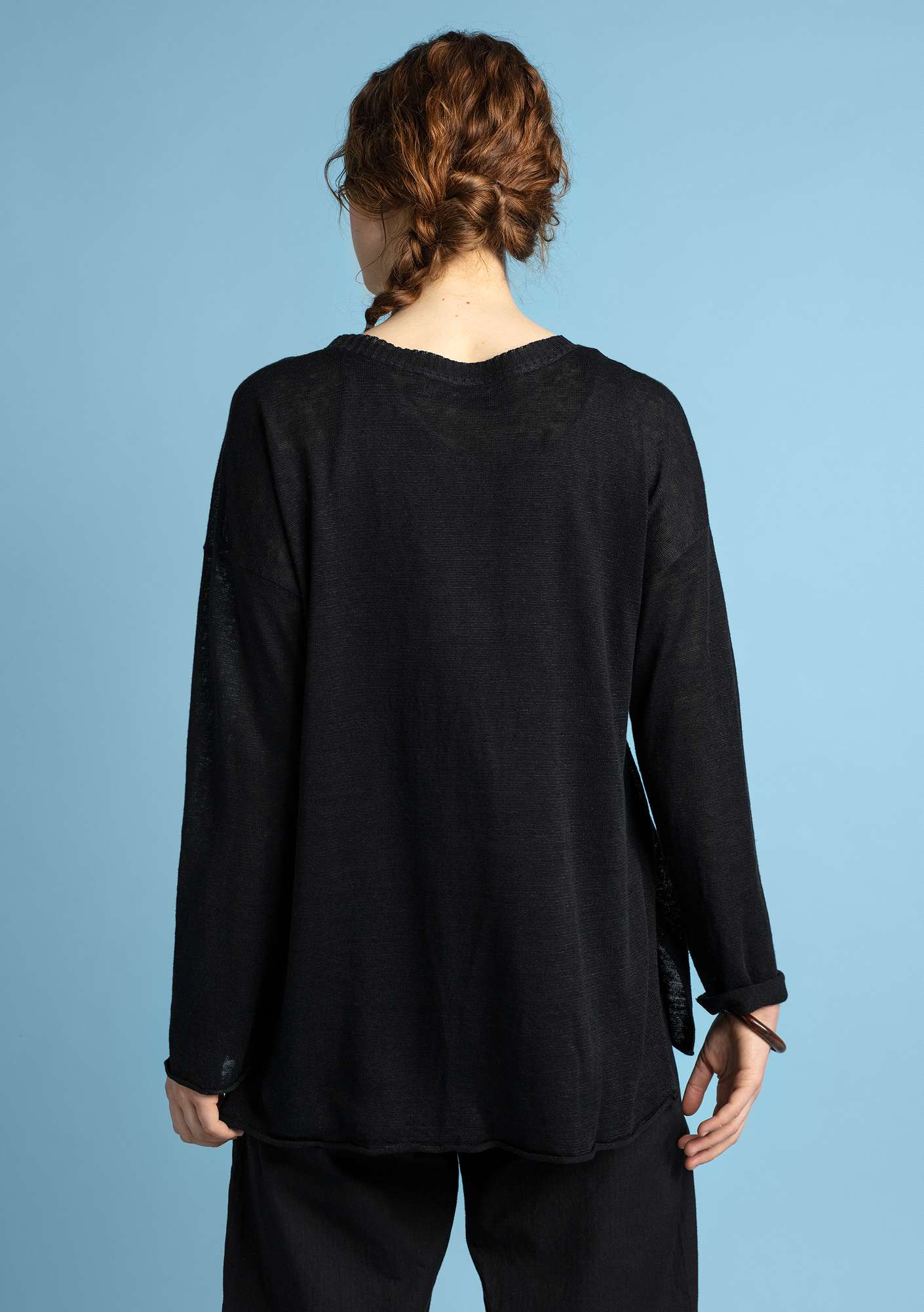 Knit tunic in organic linen black