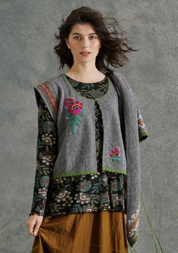 Mora embroidered vest grey melange