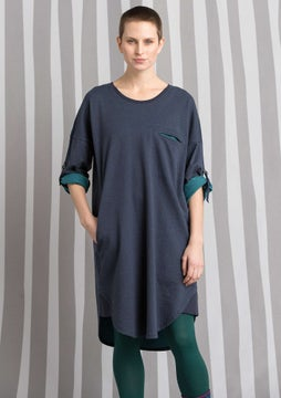 Tunic in eco-cotton blue mussel