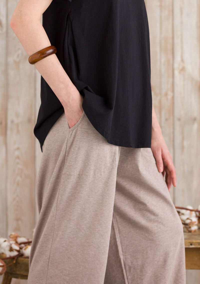 """Petite"" organic cotton/elastane trousers light potato melange"