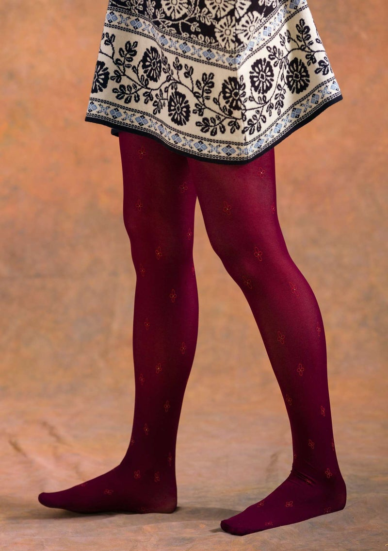 """Anna"" tights made of recycled polyamide aubergine"