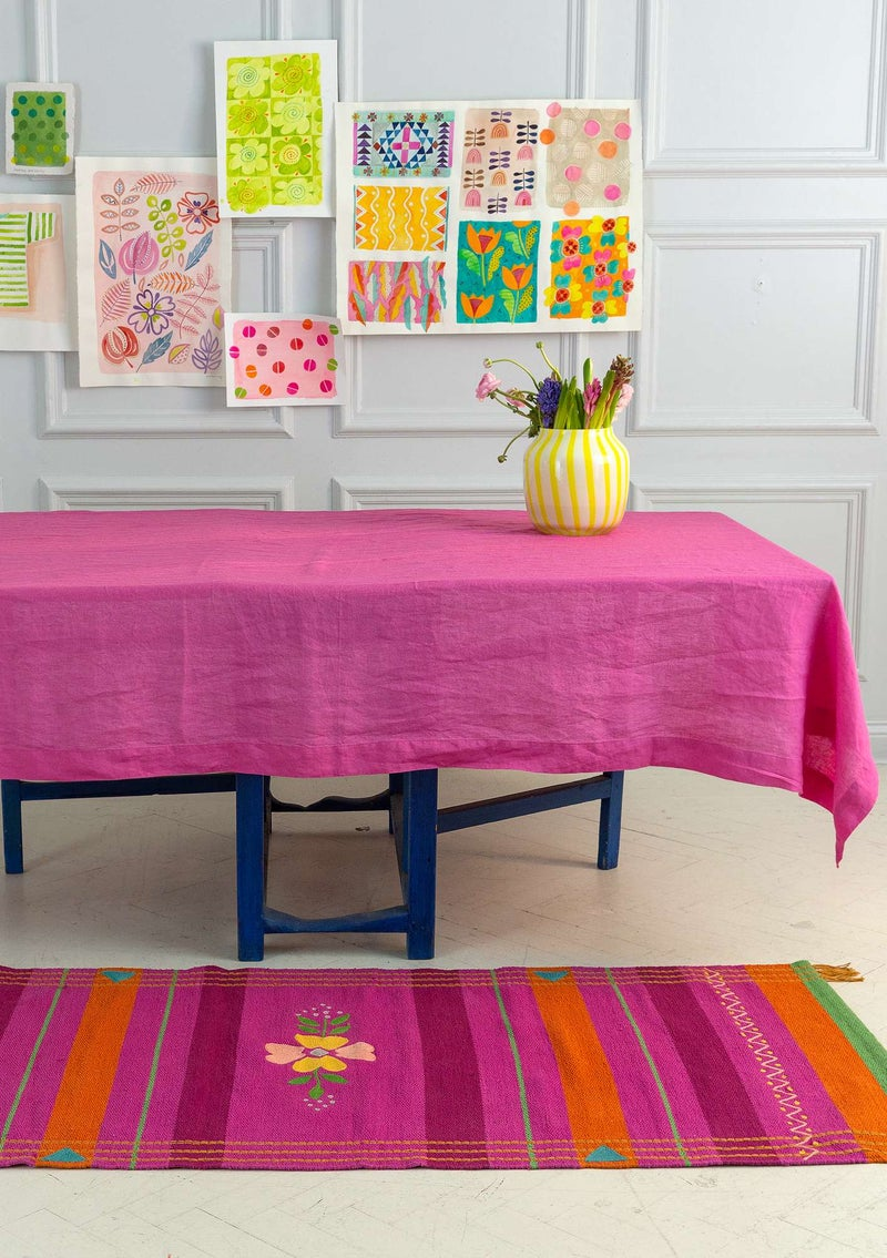 Washed linen tablecloth peony