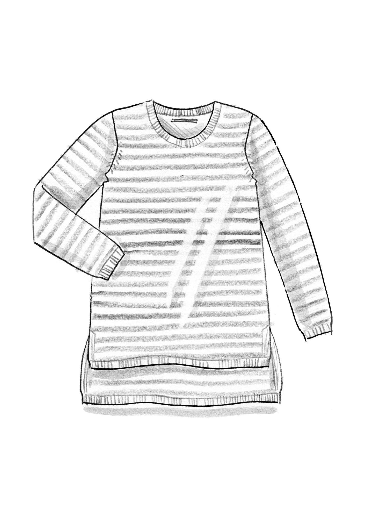 Striped-knit organic cotton sweater ash grey