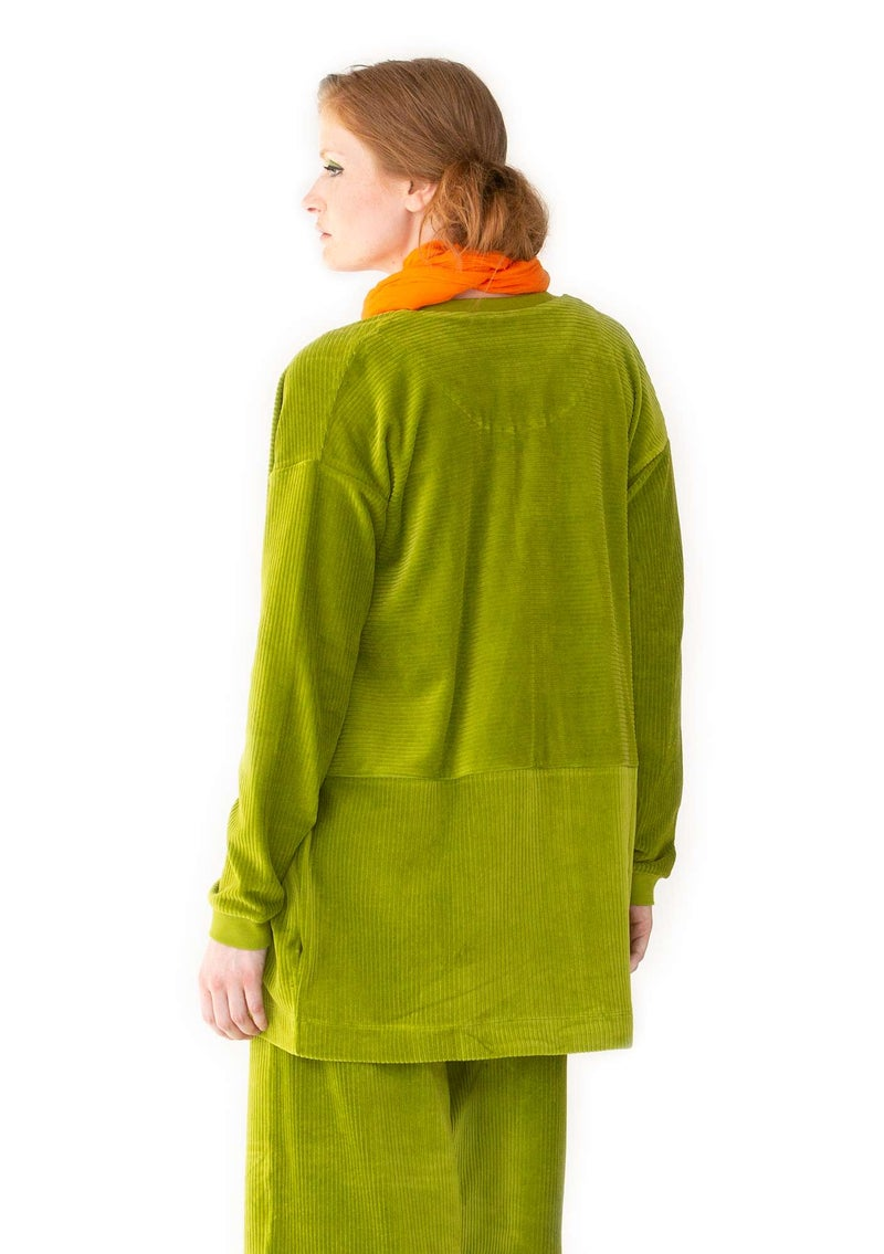 Jersey jacket in velour corduroy asparagus