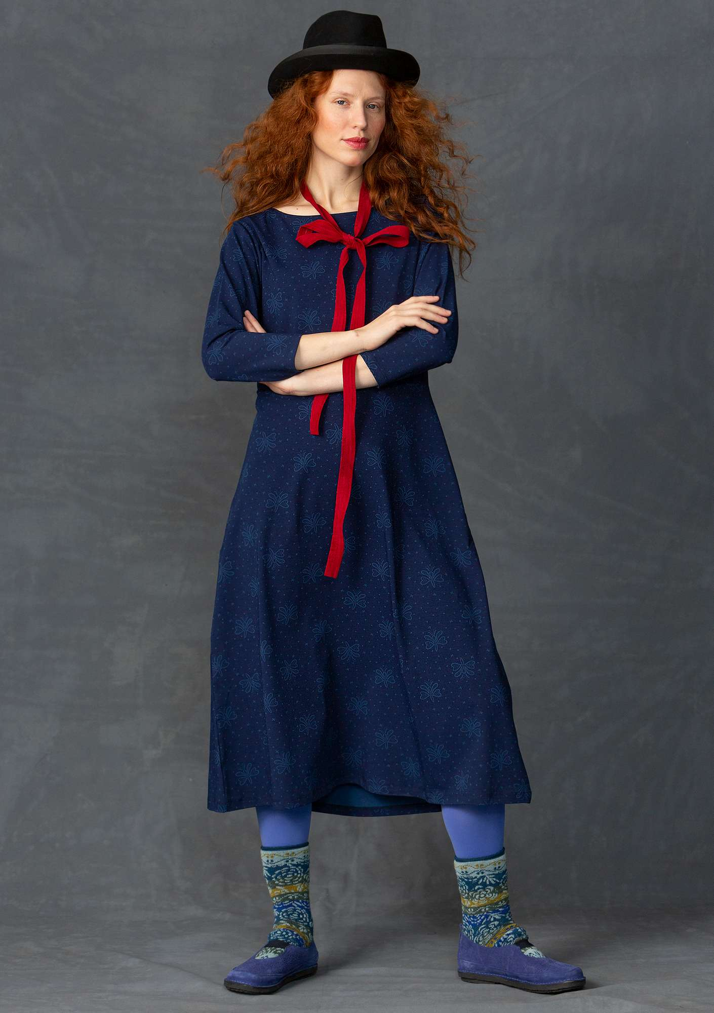 """Blossa"" dress in organic cotton/spandex indigo"