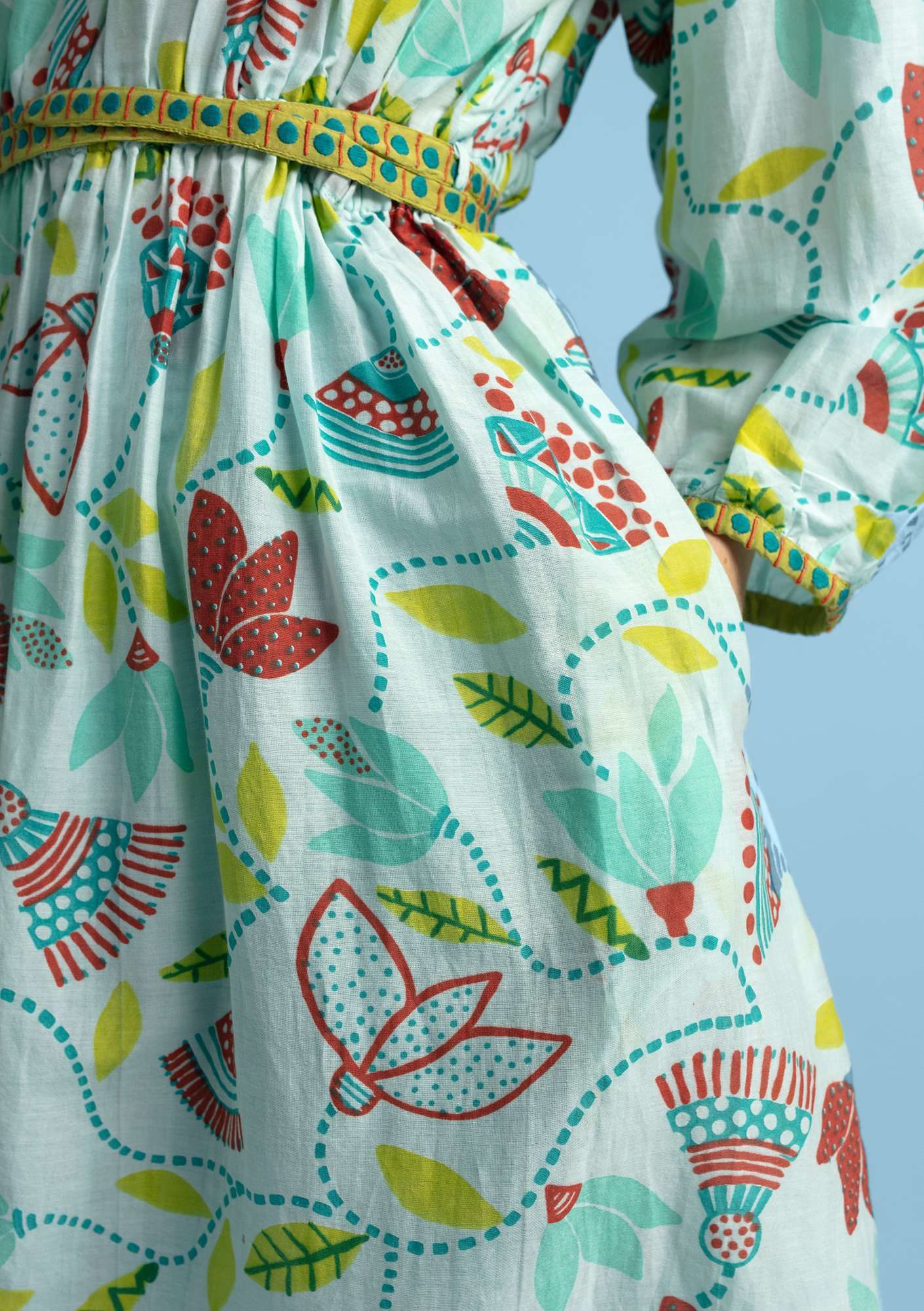 """Artemis"" dress in eco-cotton/silk pale orient green"