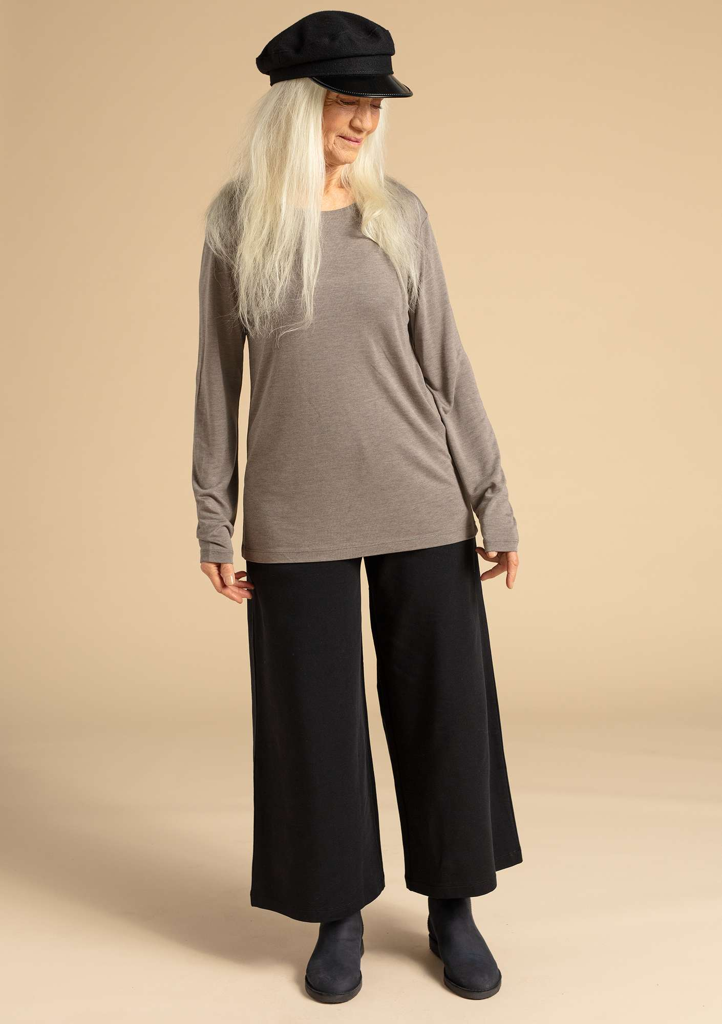 Pants in eco-cotton/modal/spandex black