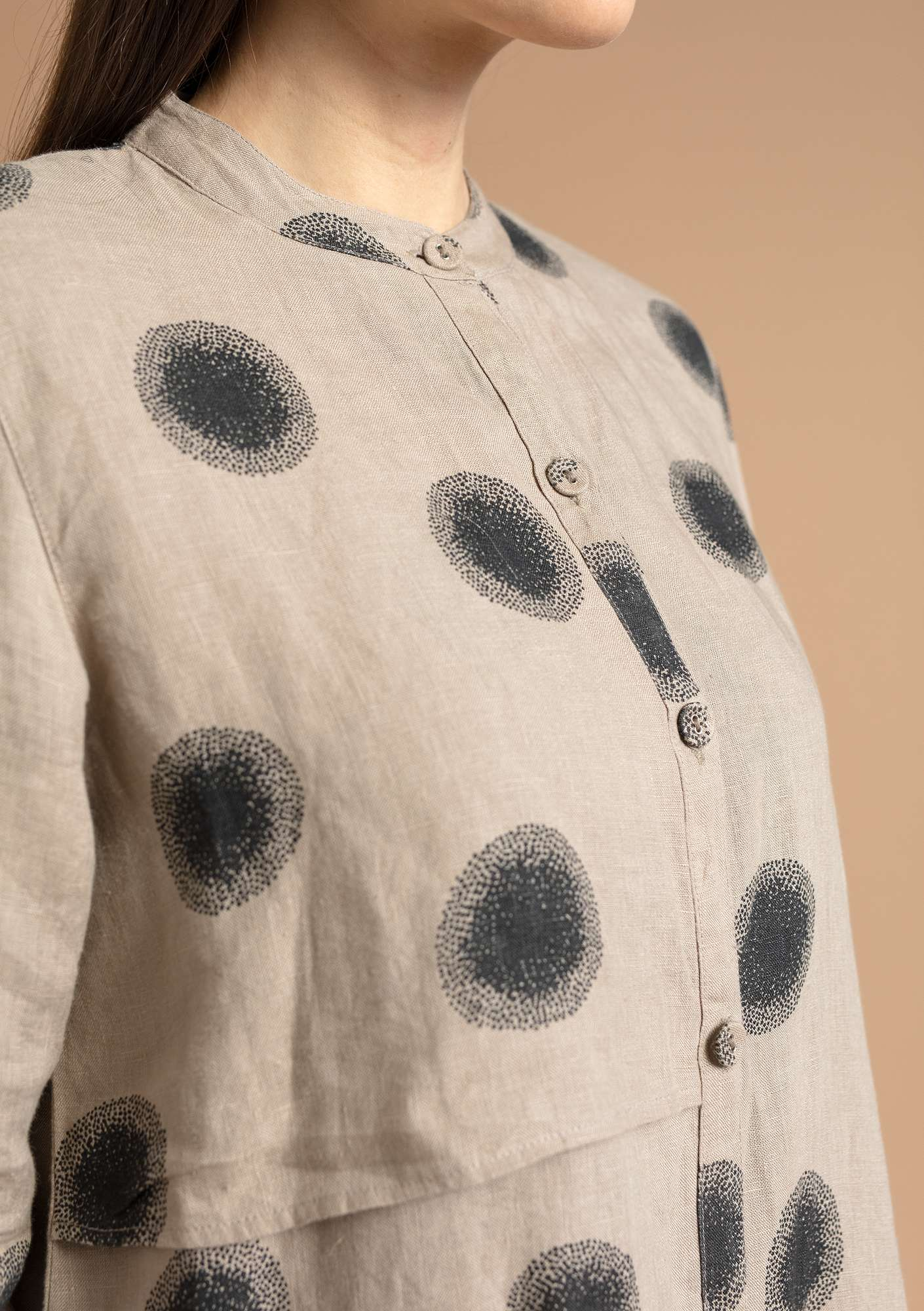 """Sia"" linen shirt natural/patterned"