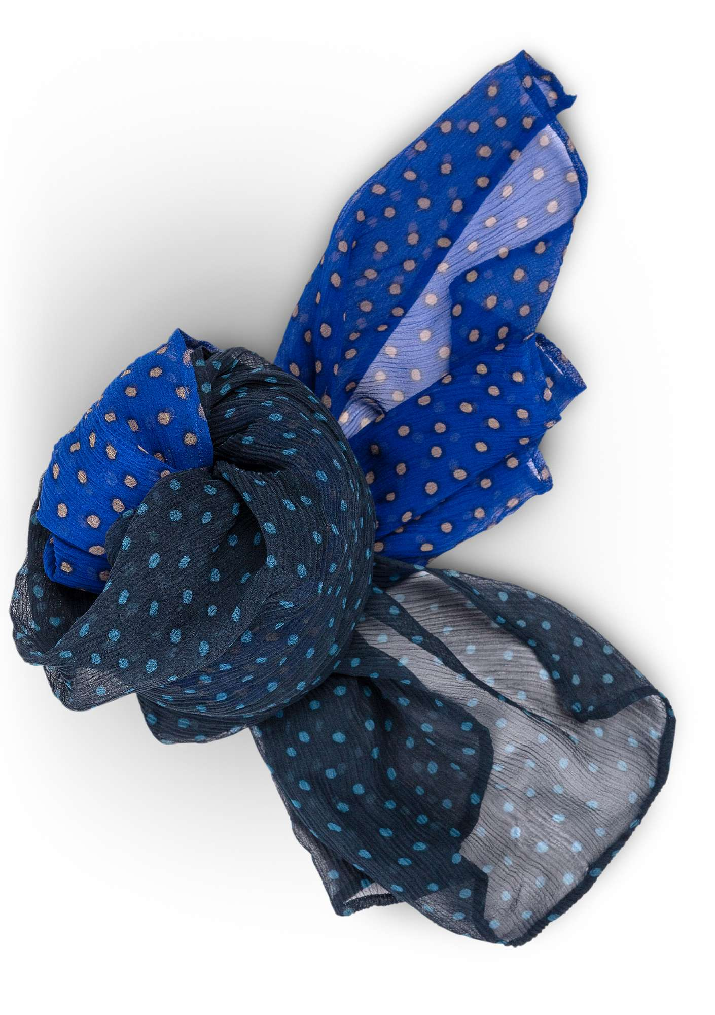 Silk chiffon dotted shawl klein blue/ink blue