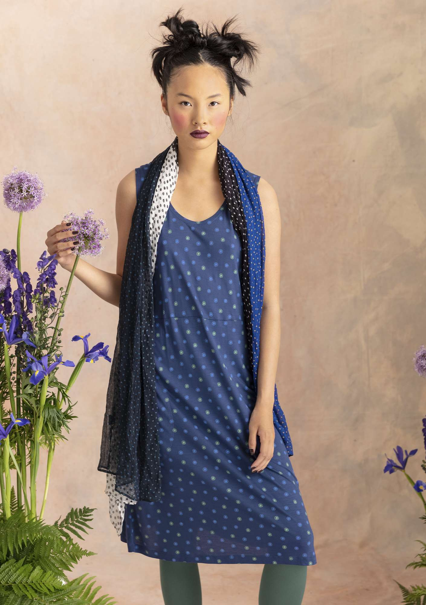 """Twinkle"" dress in modal midnight blue/patterned"