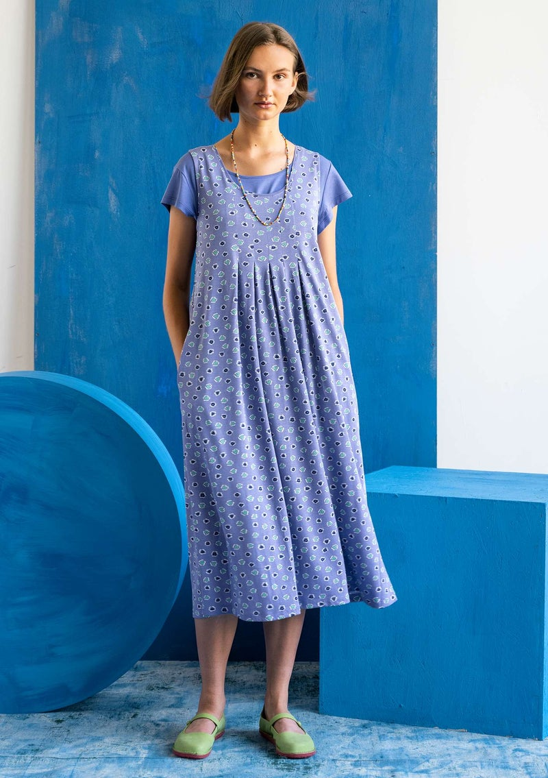 """Himmel"" organic cotton/modal jersey dress  midnight blue/patterned"