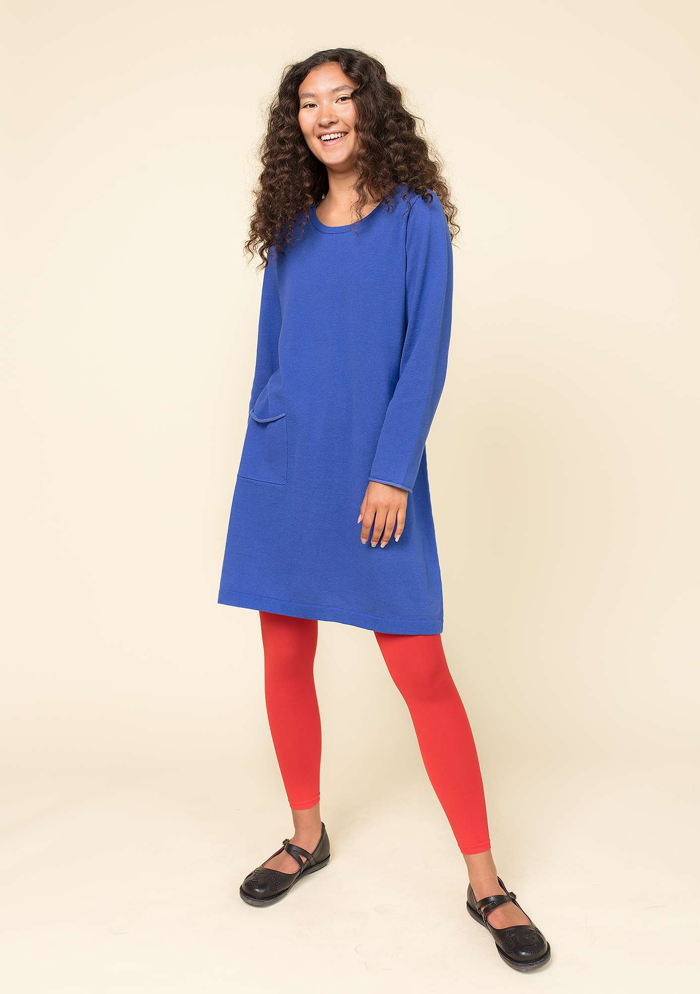 Plated tunic in eco-cotton klein blue