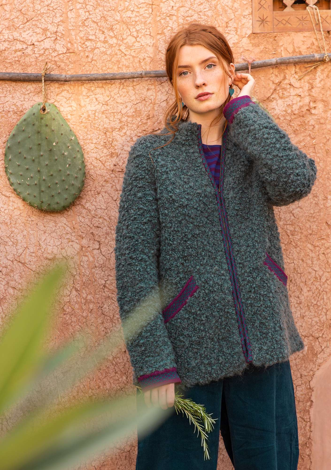 """Curly"" cardigan jacket in felted wool bouclé agave"