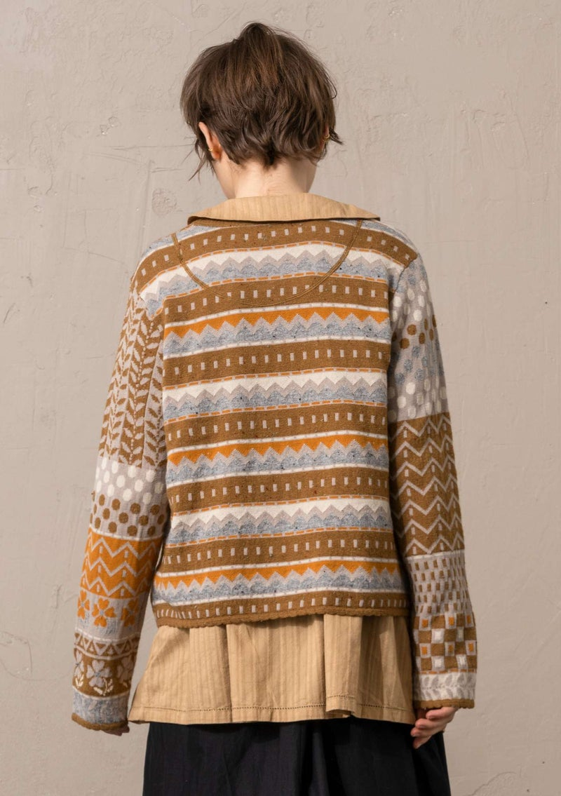 """Edith"" lambswool/recycled cotton cardigan camel"