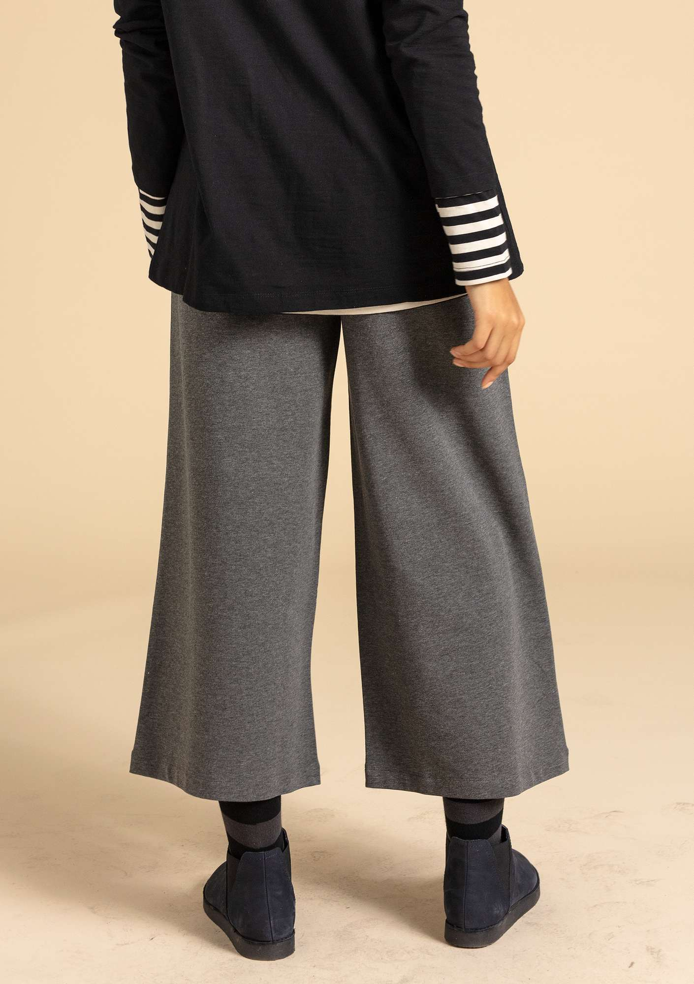Pants in eco-cotton/modal/spandex gray melange