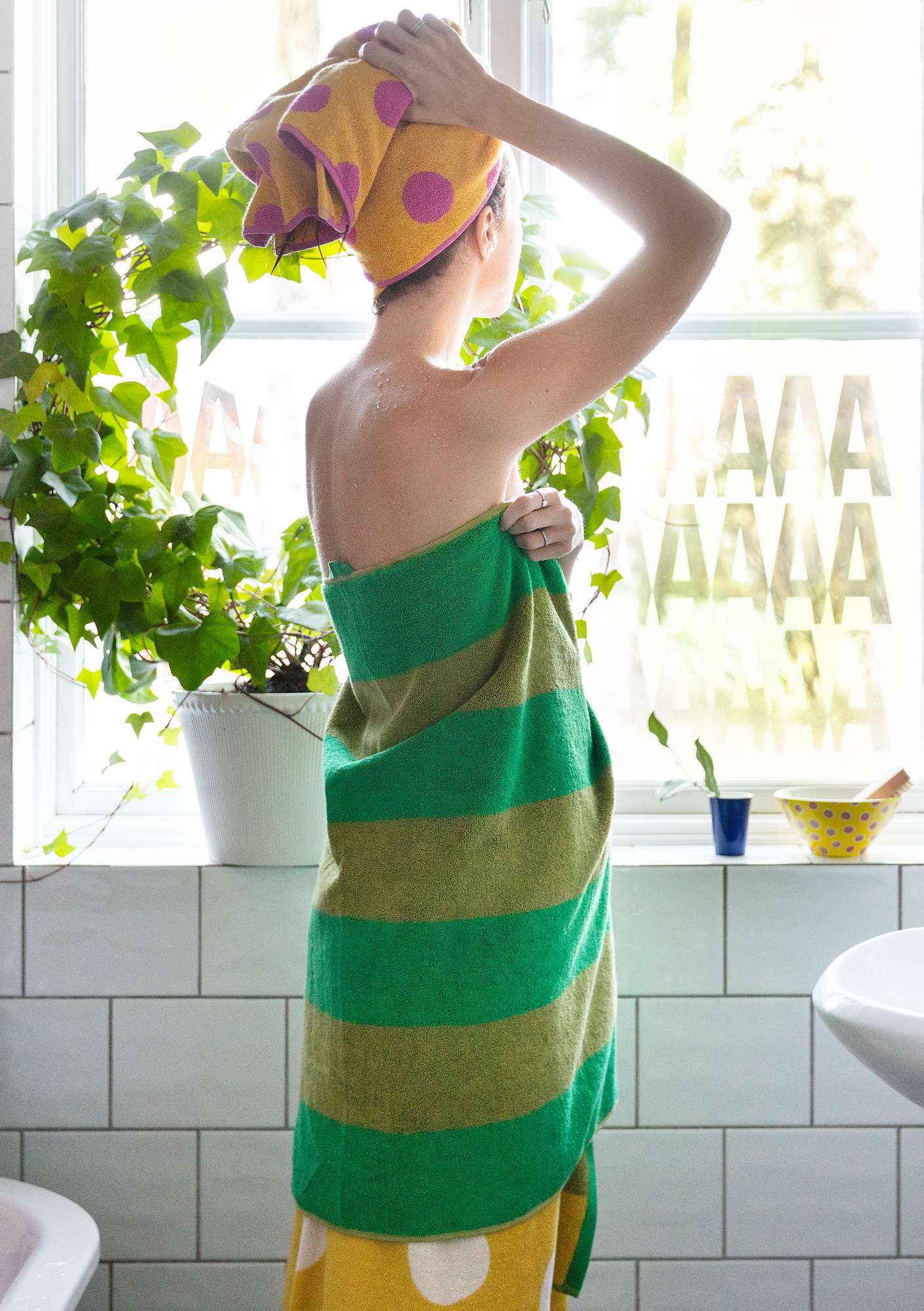 """Stråla"" organic cotton shower towel lotus green"