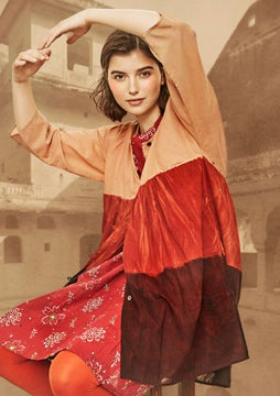 Marigold smock blouse madder red