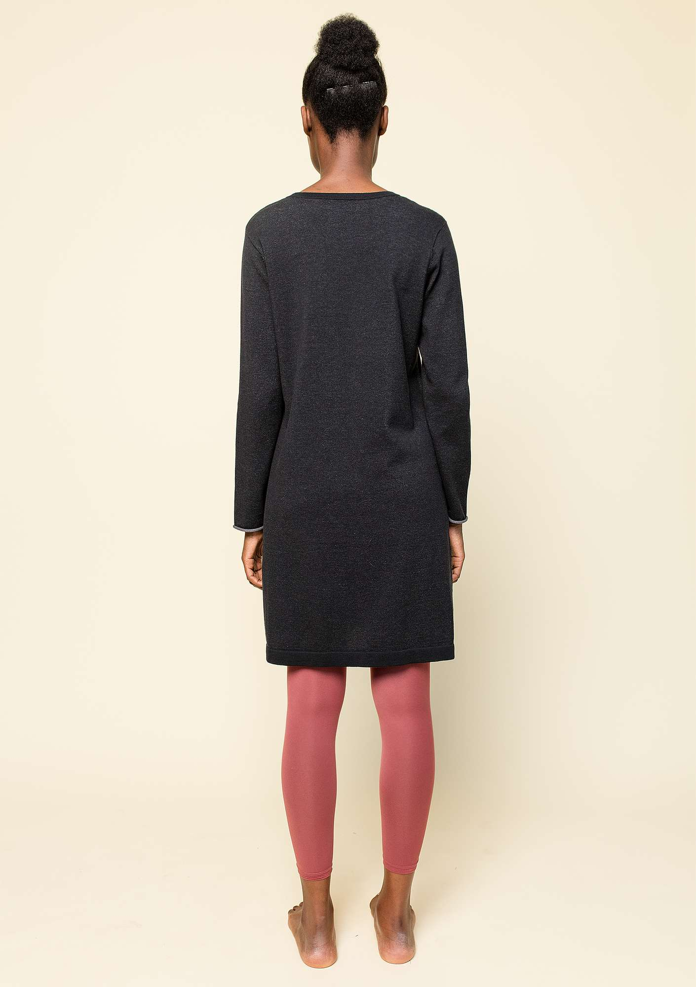Plated tunic in eco-cotton black
