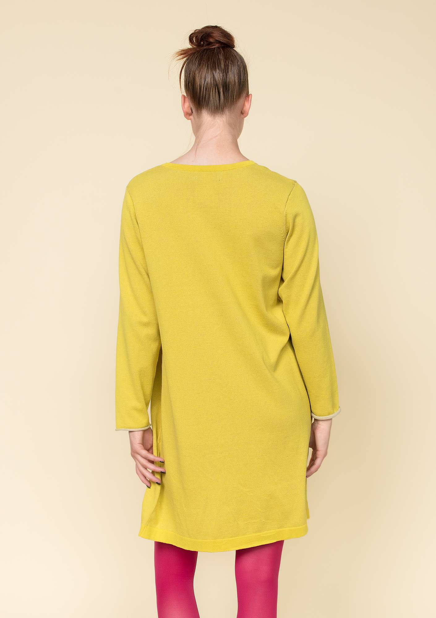 Plated tunic in eco-cotton dijon