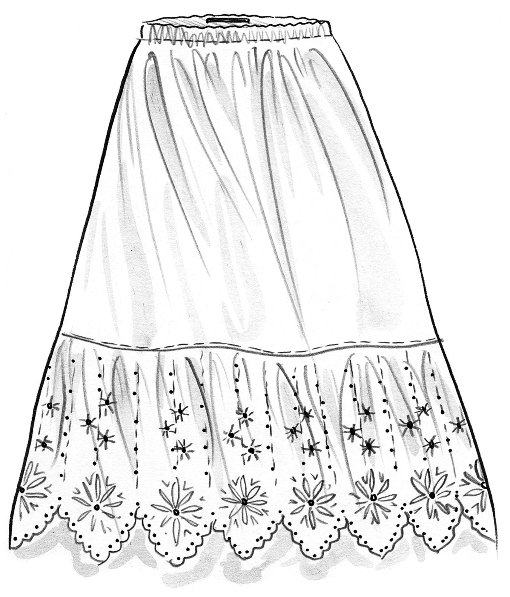 Ruffled organic cotton skirt