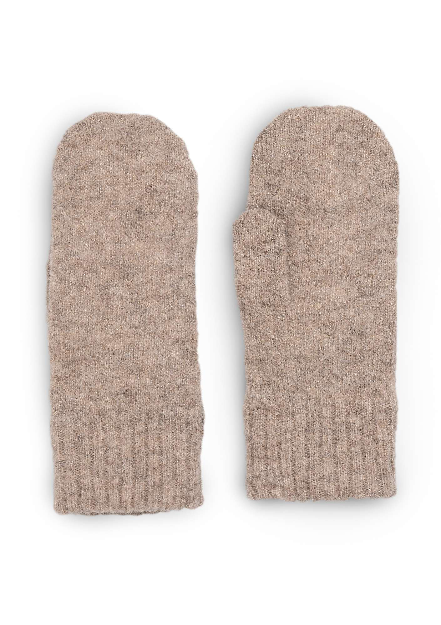 Knitted mittens in a recycled cashmere blend putty