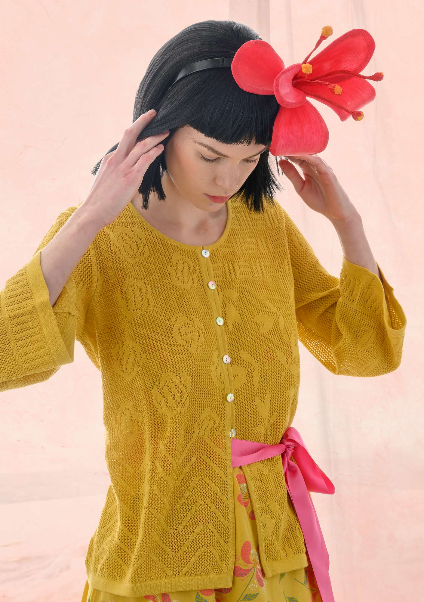 Pointelle-knit cardigan made of recycled cotton laburnum