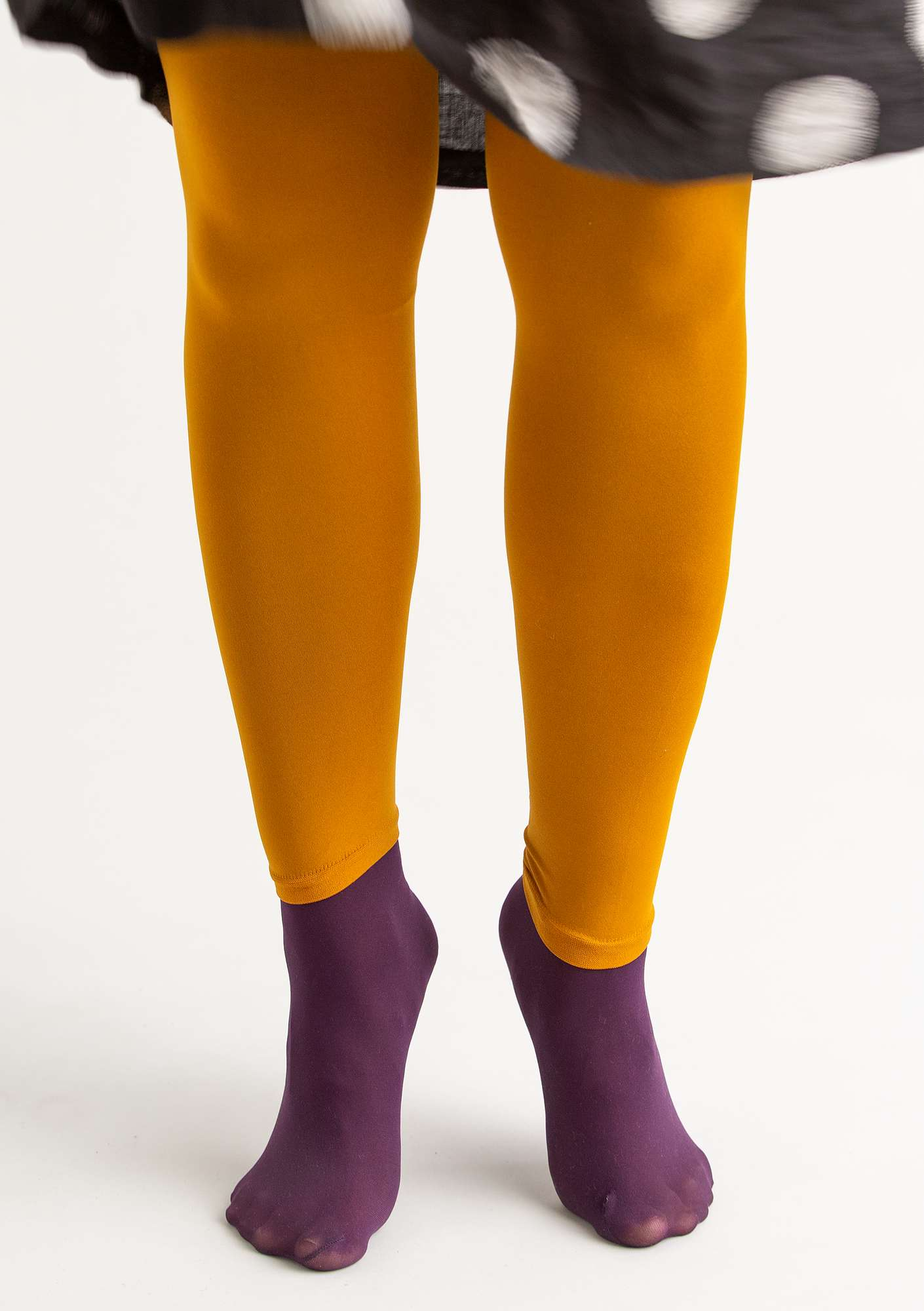 Leggings in recycled polyamide mustard