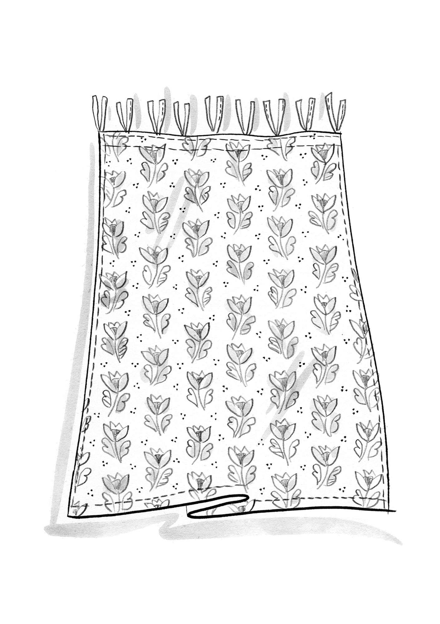 """Herb"" short curtain, block-printed on organic cotton pineapple"