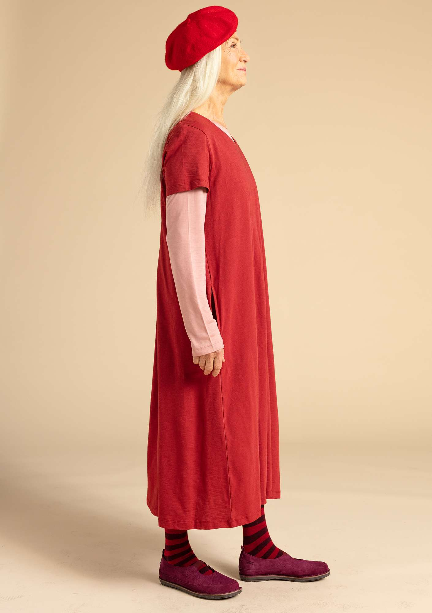 """Livia"" dress in eco-cotton madder red"