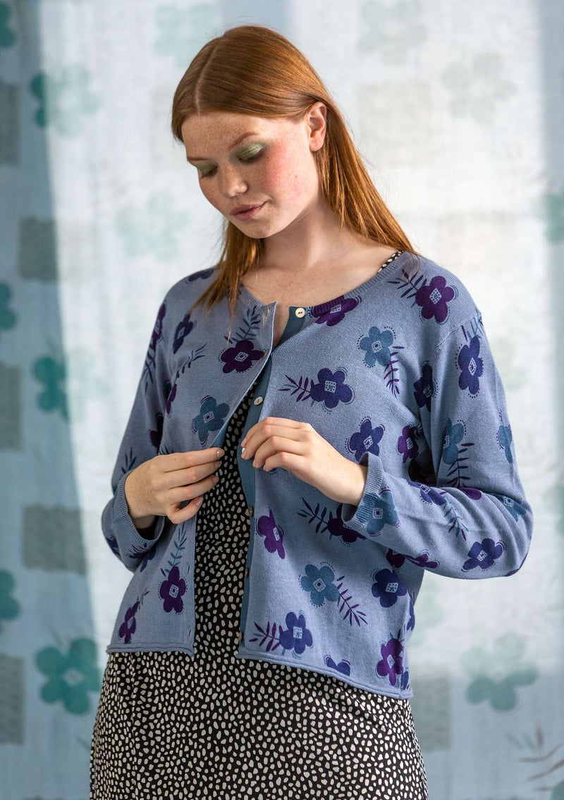 """Moringa"" organic linen/organic cotton cardigan light indigo"