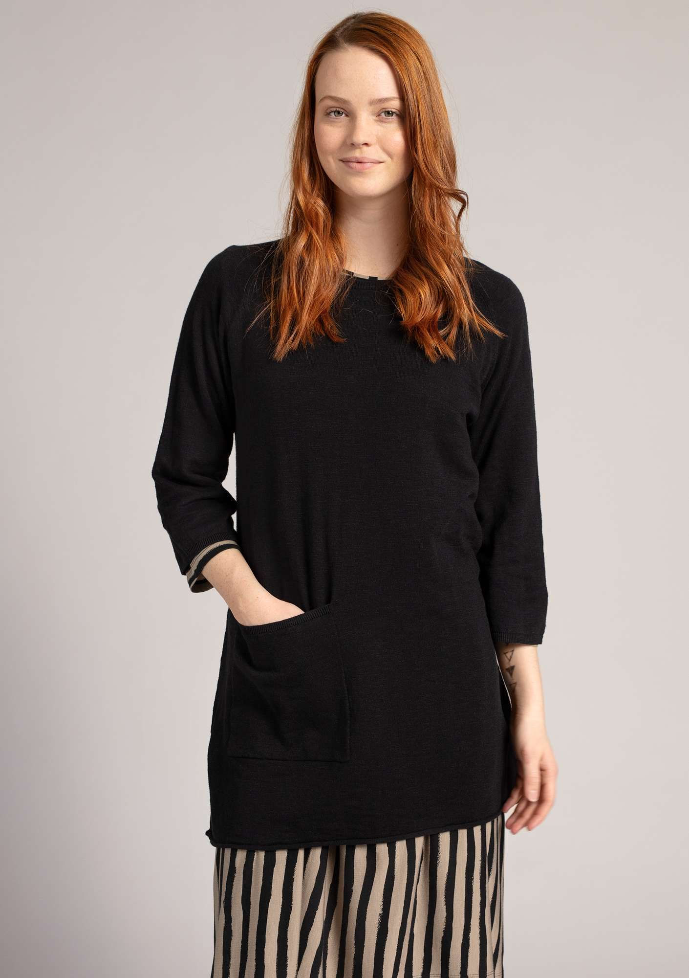 Tunic in organic cotton/linen black
