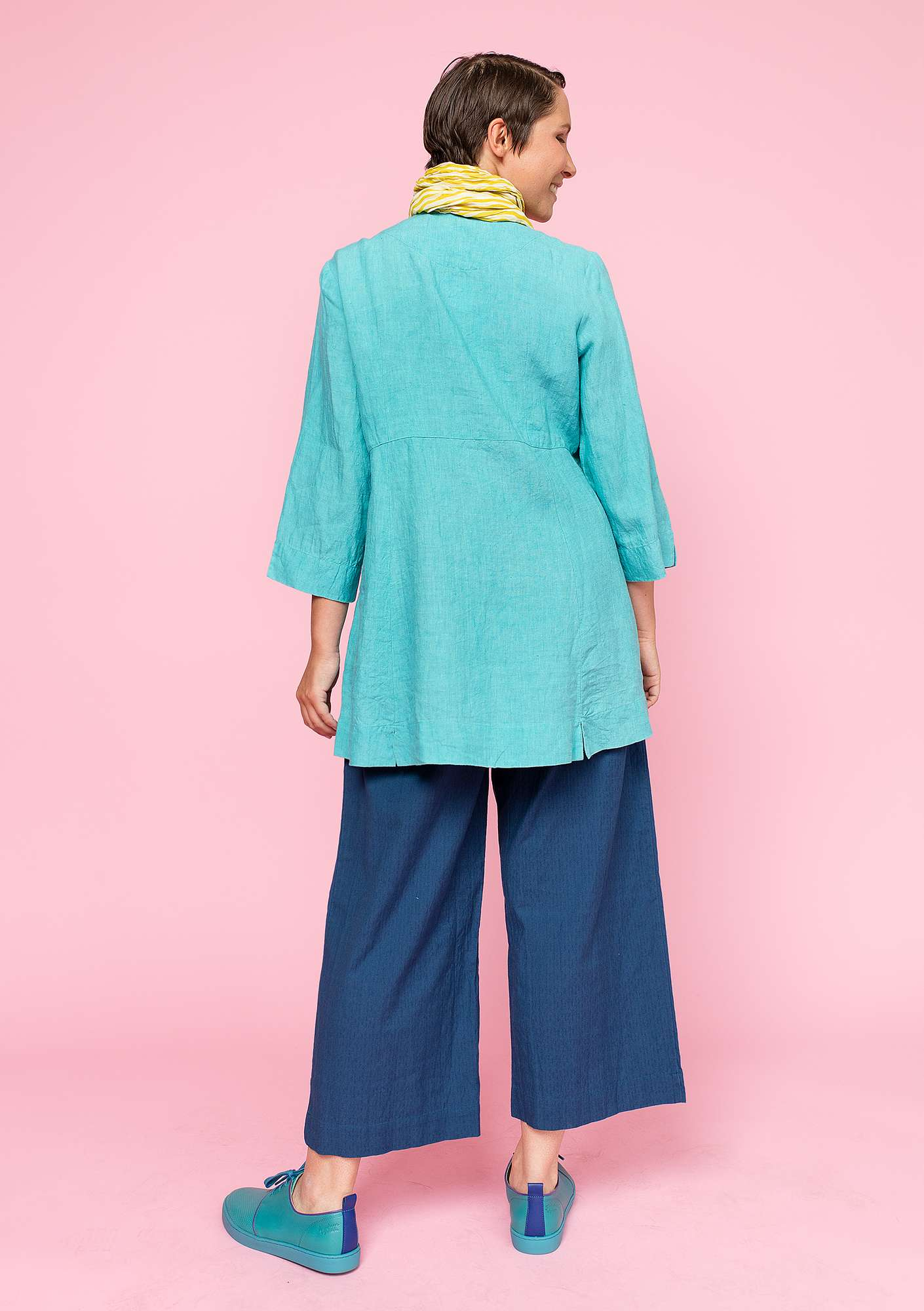 Tunic in linen turquoise
