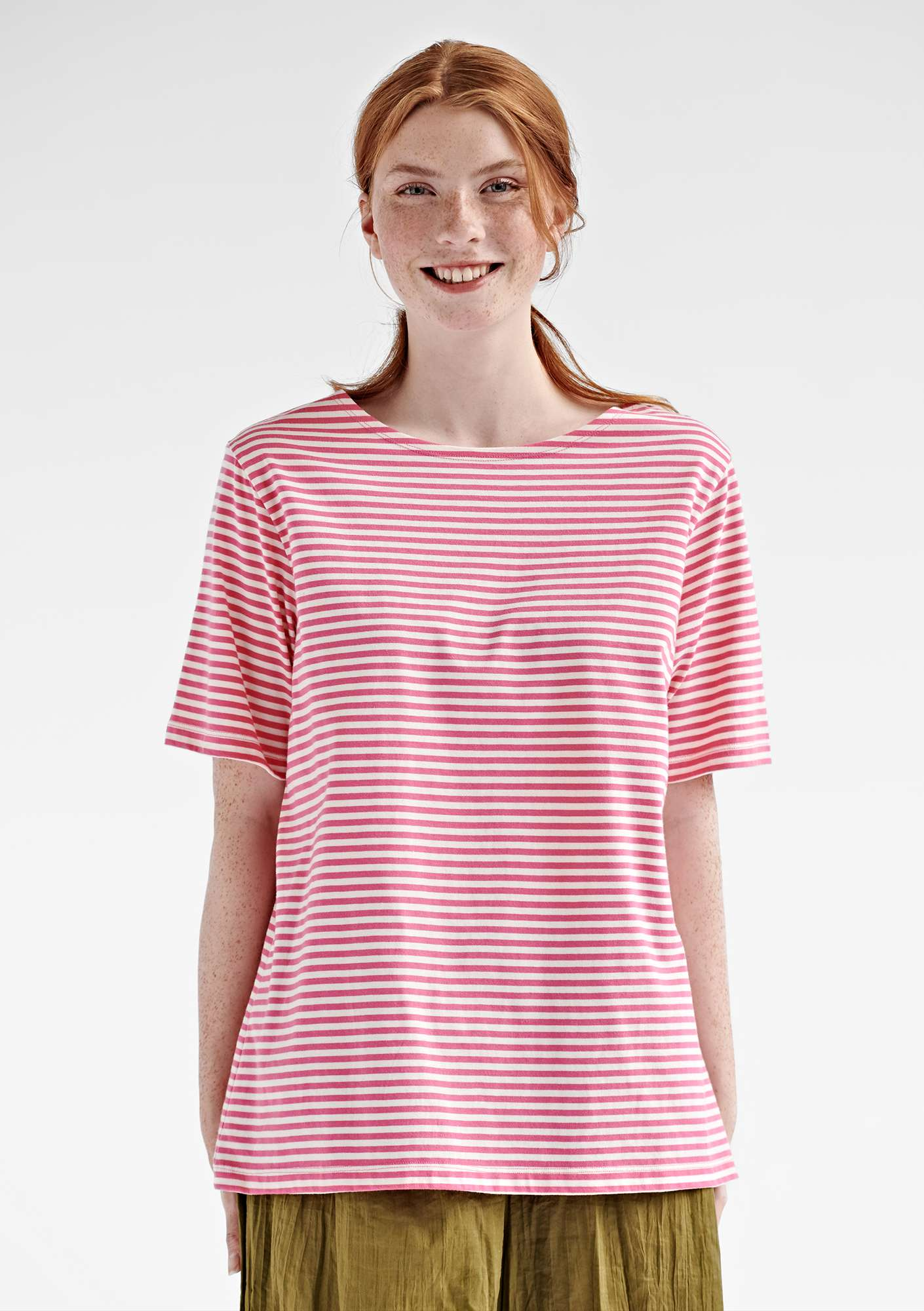Block-striped T-shirt in eco-cotton phlox/unbleached
