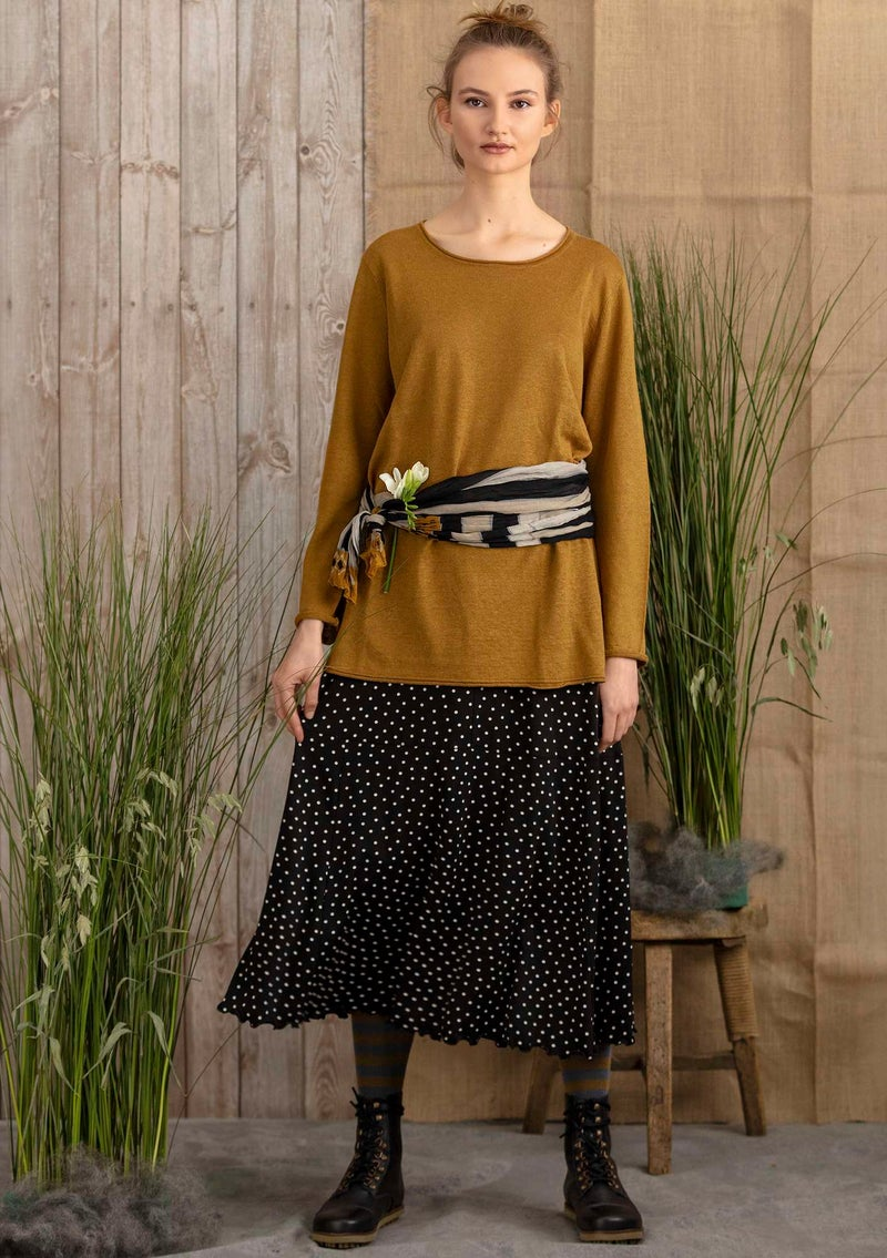 Knit tunic in organic linen curry