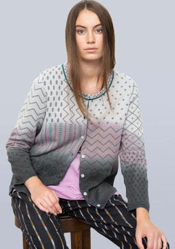 Strickjacke Dip dye grey