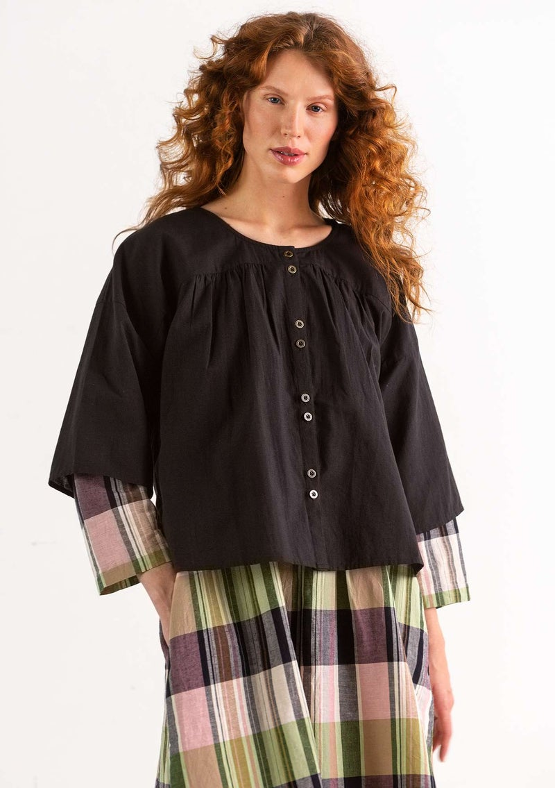 """Rut"" organic cotton/linen blouse black"