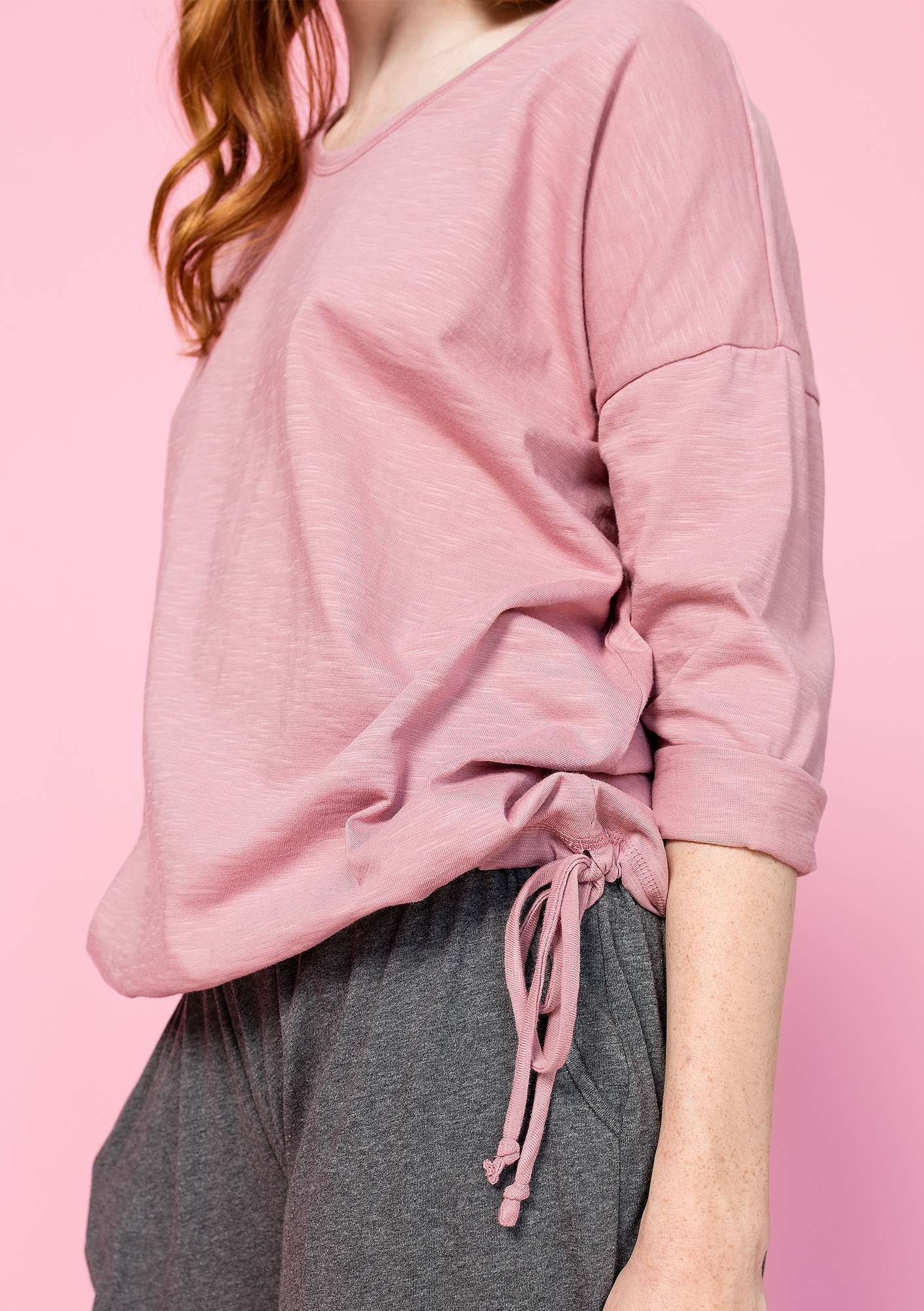 Top in organic cotton powder pink