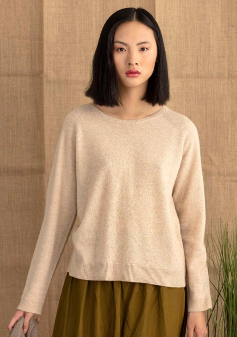Cashmere sweater natural melange/solid colour