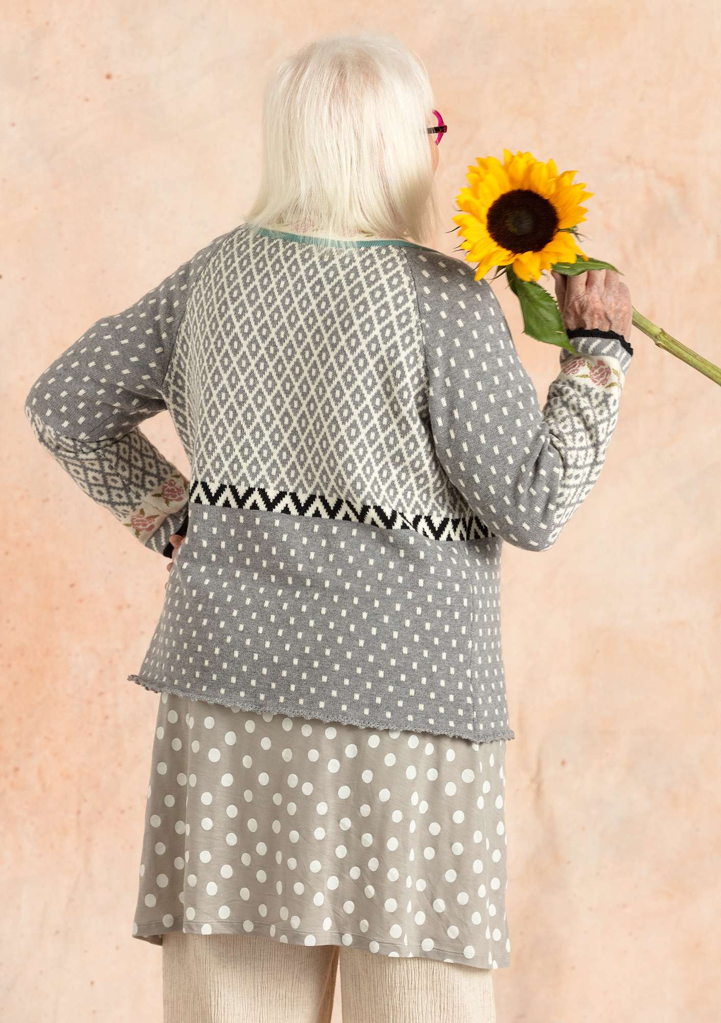 """Rose"" cardigan in organic cotton/wool  light gray melange"
