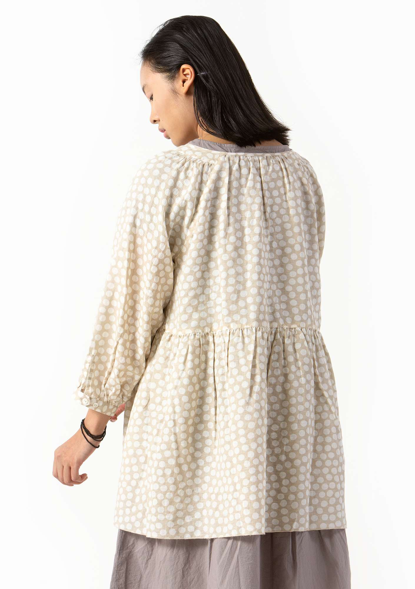 """Dot"" blouse in cotton/linen eggshell"