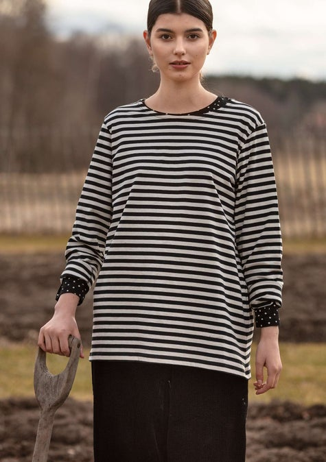 Striped top black/ecru