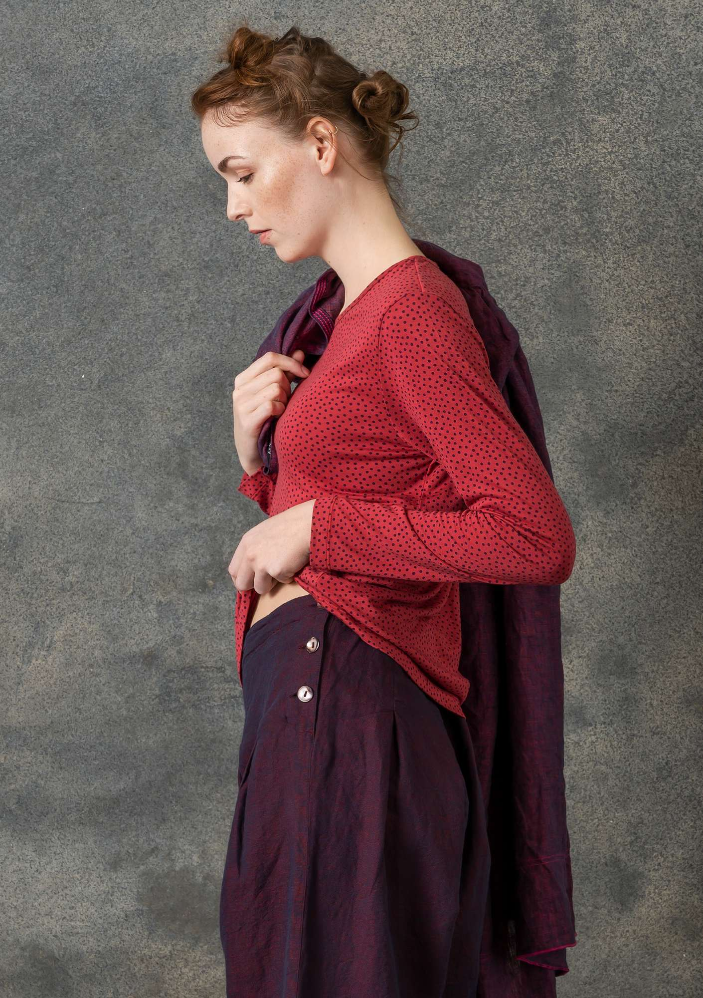 Dotted silk-blend top rosewood