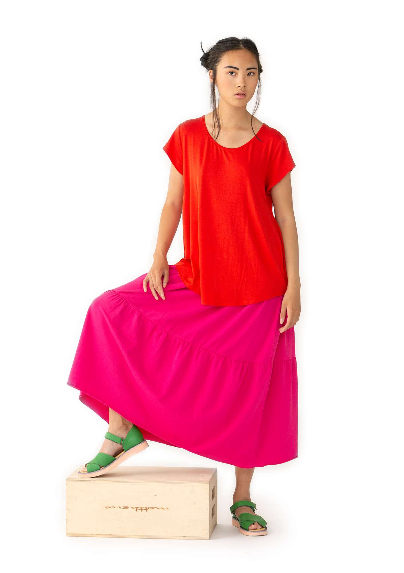 """Molly Dolly"" top in lyocell/spandex bright red"