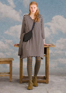 Striped dress natural grey melange/black